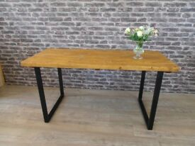 U & X frame Rustic Industrial Wood Dining Table Steel Legs. From £162.00