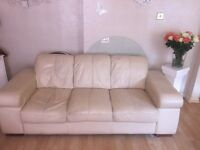 3 and 2 cream leather sofas (solid)