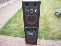 "2 SKYTEC SPB-10 ACTIVE/PASSIVE 10"" PA SPEAKERS 600W"