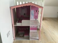 Designafriend dolls house, wooden sleepover bed and wooden coffee table and sofa set