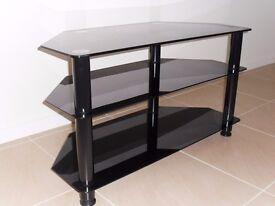 Black glass TV stand.