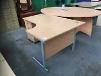 BEECH OFFICE RADIAL L SHAPED CORNER DESK & PEDESTAL VERY GOOD CONDITION