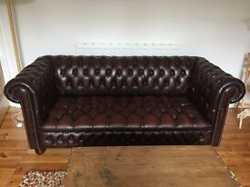 3 seater leather chesterfield sofa. Antique brown. Good condition.