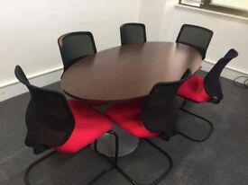 6 Seater mahogany surface mini boardrooms with 6 chairs