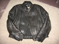 Black leather biker jacket from Frank Thomas, size 45.