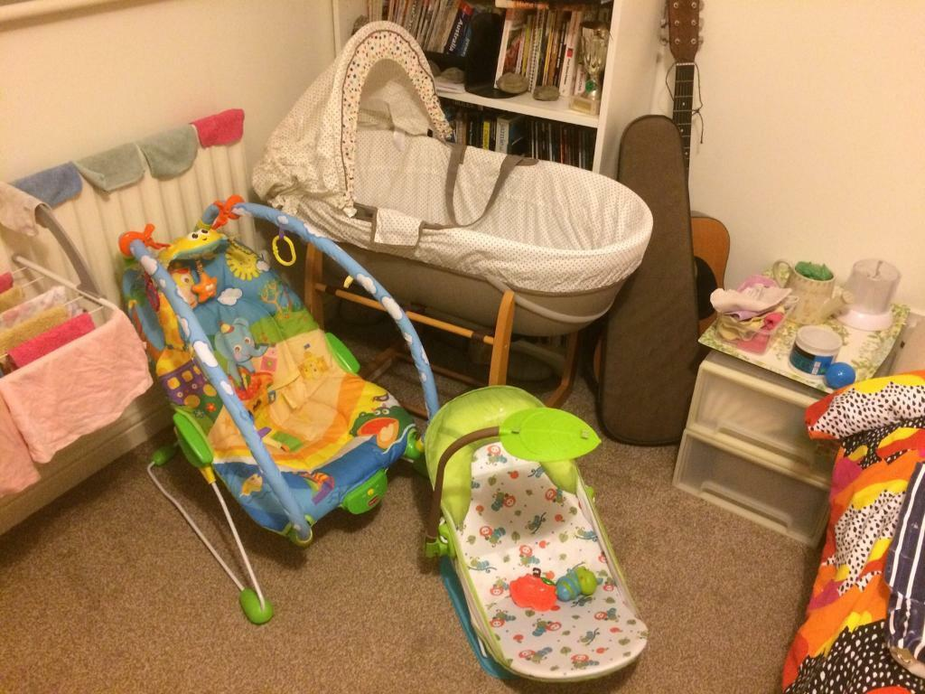 Moses basket, baby bouncy chair and bath support   in Leeds, West ...