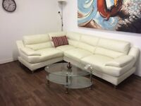 CORNER SOFA**IVORY LEATHER CORNER SUITE**DELIVERY AVAILABLE**