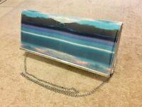 Dorothy Perkins blue and cream island clutch/shoulder bag