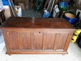 Dutch antique 12 panel oak coffer
