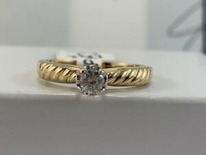 #3897 10K Yellow & White Gold Diamond Solitaire Engagement Ring .20CTW *SIZE 6 3/4* APPRAISED AT $1525