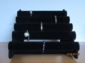 5 tier flock display for watches, bangles and bracelets