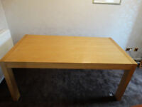 Dining Table. Light oak colour. 170L x 90W x 75H cms