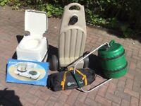Wastemaster, Thetford toilet, electric stove, cara van awning, water carrier