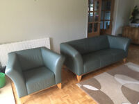 Matching IKEA Green Leather Armchair and Sofa Set
