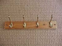 Pine Wall Mounted Coat Rack with 4 Plated Metal Hooks Upcycling Project or Hook Parts