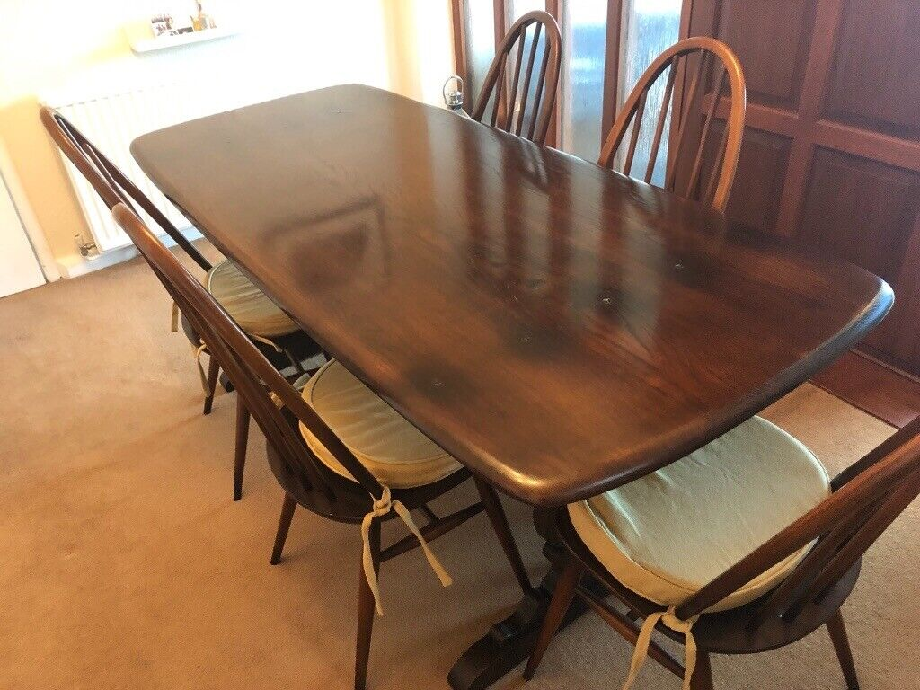 Ercol Original Refectory Dining Table 5 Quaker Chairs Cushions Lovely Condition