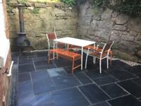 Ikea White Plastic Outdoor Table with 2 x Orange Metal Benches and 2 x stools