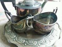 VINTAGE Tea Pot Set with tray milk jug and sugar holder