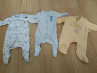 3 Baby pyjamas / baby grows 0-1month boy - girl