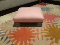 Wooden grey low footstool upholstered in pale pink Abraham Moon fabric