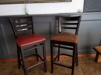 Wood and Leather Cocktail Bar stools
