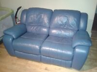 BLUE leather reclining sofa - 2 seater