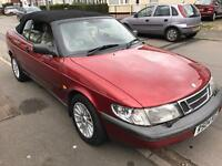 Saab s 2.0 1998, convertible, red, manual, leather seats, mot until march 2018