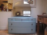 Vintage Art Deco Dressing Table, Chest of Drawers - Professionally painted in Farrow & Ball Eggshell