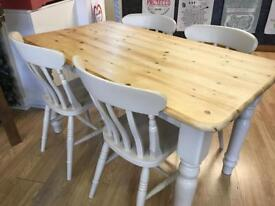 Lovely refurbished farmhouse table and four chairs