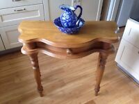 Attractive Pine Hall/Desk Table with 1 drawer. Wax polished in VGC.
