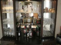 Glass display Cabinet + Under storage Cupboard - with lighting