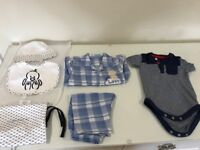 New Baby Armani Hat and bib with 3-6 months baby clothes in excellent condition