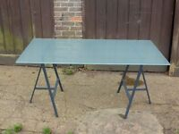 Ikea glass top table with trestle legs