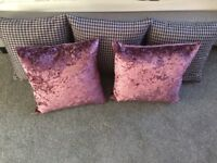 Grey dogtooth and purple velvet scatter cushions x 5