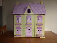 ELC Early Learning Centre Rosebud Cottage Wooden Dolls House with accessories *Very Good Condition*