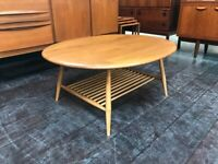 Model 454 Windsor Coffee Table with Magazine Rack by in Elm by Ercol. Retro Vintage Mid Century