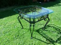 Ornate Metal Framed Beveled Glass Topped Occasional / Coffee Table