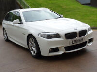 BMW 5 SERIES 2.0 520D M SPORT TOURING 5d AUTO 181 BHP GREAT EXAMPLE OF WHITE M SPORT +