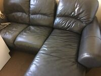 Black leather corner (small) settee and chair