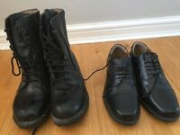 size 5 black combat boots and parade shoes ideal for Air/Army/Navy Cadets