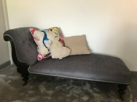 Chaise lounge, professionally upholstered