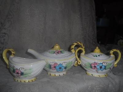 5 Pc.Vntg~Antq Hand-Painted Porcelain Genie Style Melon TeaPot Cream & Sugar Set