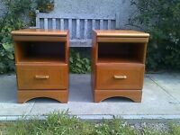 Retro Pair of Mcintosh teak bedside cabinets with pull out slides