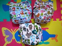 Sets of 3 Pocket Cloth Nappies with adjustable popper fasteners & organic bamboo inserts
