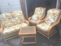 CANE CONSERVATORY SUITE WITH TABLE ** FREE DELIVERY IS AVAILABLE **
