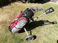 Ladies golf clubs, bag and trolley