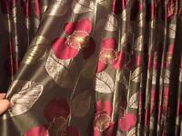 Beautiful Harlequin interlined heavy curtains in olive & pink 90x90
