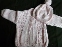 Hand knitted baby girl coat and hat 0 - 6 mths