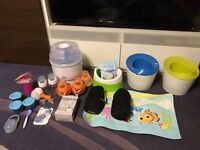 Very big baby care bundle steriliser, bottles, potties, pram/ pushchair dummy holder clip