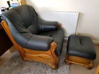 Real leather two seater sofa , chair and footstool